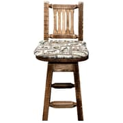 Loon Peak Abella 24'' Square Swivel Bar Stool w/ Cushion; Stain and Lacquer Finish