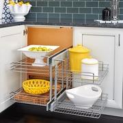 Rev-A-Shelf Blind Corner Cabinet Pull-Out Chrome 2-Tier Basket Organizer; 18''