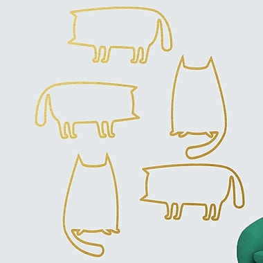 SweetumsWallDecals 5 Piece Cat Outlines Wall Decal Set; Gold