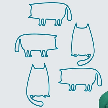 SweetumsWallDecals 5 Piece Cat Outlines Wall Decal Set; Teal