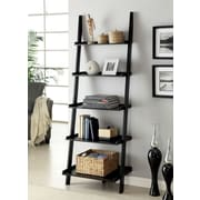 Breakwater Bay Topsail 75'' Leaning Bookcase; Black