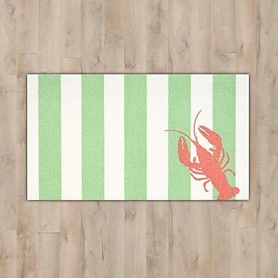 Breakwater Bay Orton ''Lobster'' Green/White Area Rug