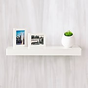 """Way Basics 23.6""""W x 2""""H Floating Wall Shelf made from zBoard Eco Reycled Paperboard, White"""