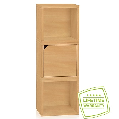 Way Basics Eco Stackable Connect 3 Cube Storage, Natural Wood Grain