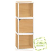 Way Basics Eco Stackable Connect 3 Cube Storage System, Natural/White