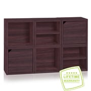Way Basics Eco Stackable Connect 6 Cube Storage System, Espresso