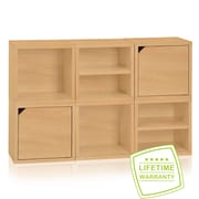 Way Basics Eco Stackable Connect 6 Cube Modular Storage System, Natural Wood Grain - Lifetime Guarantee