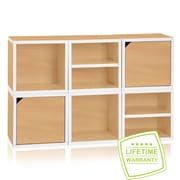 Way Basics Eco Stackable Connect 6 Cube Storage System, Natural/White