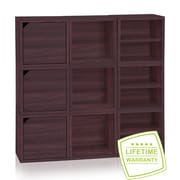 Way Basics Eco Stackable Connect 9 Cube Storage System, Espresso