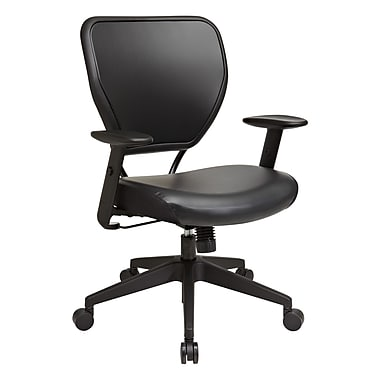 Office Star SPACE Seating Vinyl Managers Office Chair, Adjustable Arms, Black (5500V)