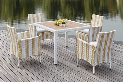 Breakwater Bay Thorntown 5 Piece Dining Set; Gold/White