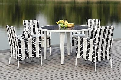 Breakwater Bay Rodric 5 Piece Dining Set; Black/White