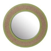 Breakwater Bay Straw Wooden Mirror; Green