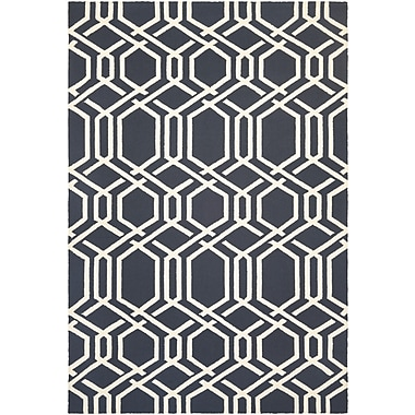 Breakwater Bay Marshfield Ariatta Hand-Woven Navy/Ivory Indoor/Outdoor Area Rug; 3'6'' x 5'6''