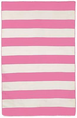Breakwater Bay Torington Area Rugby Stripe Pink Indoor/Outdoor Area Rug; 7'6'' x 9'6''