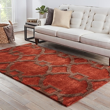 Breakwater Bay Fiddlewood Hand-Tufted Red Area Rug; 5' x 8'