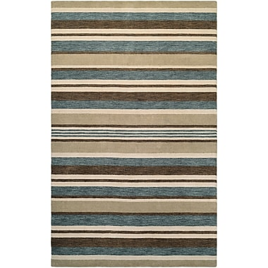 Breakwater Bay Russell Hand-Knotted Ivory/Teal Area Rug; 3'5'' x 5'5''