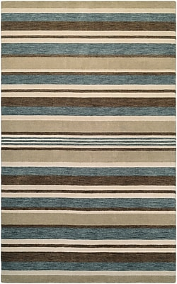 Breakwater Bay Russell Hand-Knotted Ivory/Teal Area Rug; 7'9'' x 9'9''