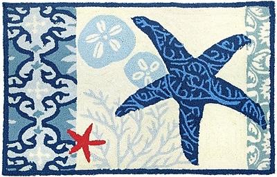 Breakwater Bay Orlando Blue/Ivory Italian Tile w/ Starfish Outdoor Area Rug; 1'10'' x 2'10''