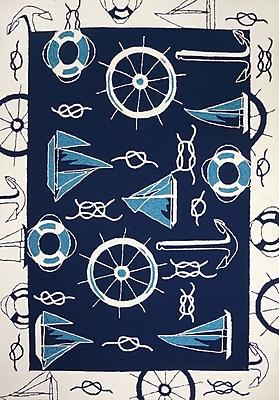 Breakwater Bay Brownsville Nautical Blue/Beige Indoor/Outdoor Area Rug; 5' x 8'