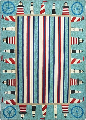 Breakwater Bay Dalvey Lighthouse Brigade Turquoise/Red Indoor/Outdoor Area Rug; 3' x 5'