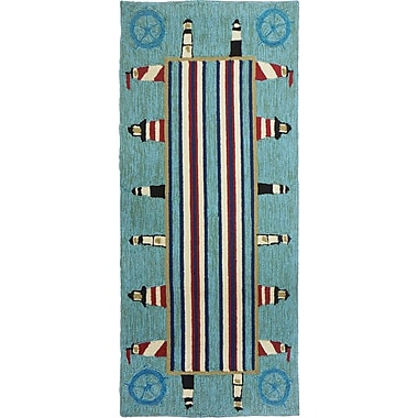Breakwater Bay Dalvey Lighthouse Brigade Turquoise/Red Indoor/Outdoor Area Rug; 2'2'' x 5'