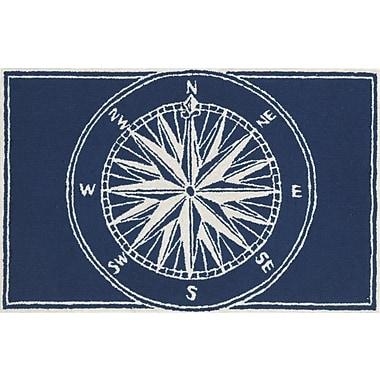 Breakwater Bay Walton Compass Navy Indoor/Outdoor Area Rug; 2' x 3'