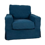 Breakwater Bay Oxalis Slipcovered Chair; Indigo Blue