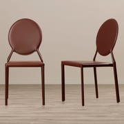 Willa Arlo Interiors Barnabas Side Chair (Set of 2); Bonded Leather+Sponge - Brown
