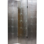 Willa Arlo Interiors Glenside 70.88'' x 47.25'' Weir 3 Panel Room Divider; Faux Leather Crocodile