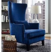 Mercer41  Stonehill Velvet Wingback Chair; Navy