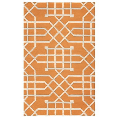 Mercer41 Angela Hand-Tufted Orange/Off White Indoor/Outdoor Area Rug; 3'6'' x 5'6''