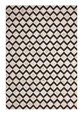 Mercer41 David Handmade Black/Cream Area Rug; 5'3'' x 7'5''