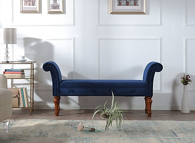Willa Arlo Interiors Escalera Solid Entryway Bench; Navy Blue