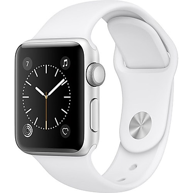 Apple Watch Series 2, 38mm, Silver Aluminium Case, White Sport Band (MNNW2CL/A)