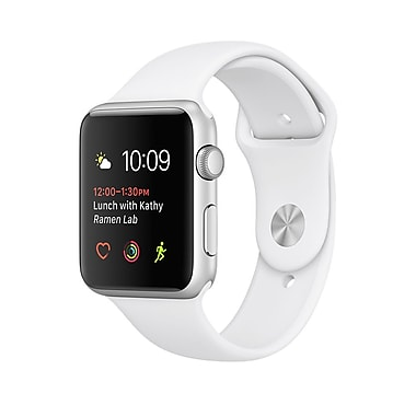 Apple Watch Series 2, 42mm, Silver Aluminium Case, White Sport Band (MNPJ2CL/A)