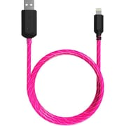 TAMO Charge n' Glow Light Up MFI Certified Charging Cables, Lightning, 3ft, Pink
