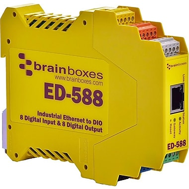 Brainboxes Ethernet to 8 Digital Inputs and 8 Digital Outputs + RS485 Gateway