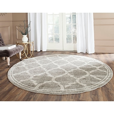 Willa Arlo Interiors Maritza Gray/Light Gray Indoor/Outdoor Area Rug; Round 7'