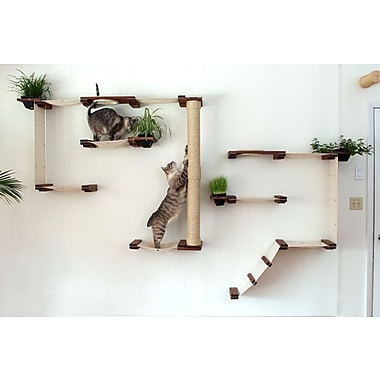 63'' Multiple-level Hammock and Climbing Activity Center Wall-mounted 21 Piece Cat Tree Set