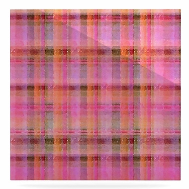 East Urban Home 'Plaid' Print on Metal in Pink; 10'' H x 10'' W x 1'' D