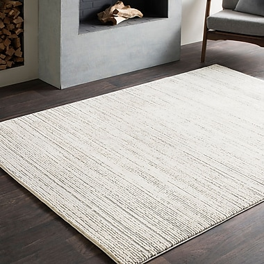 Williston Forge Brooks Distressed Modern Sleek Gray/Cream Area Rug; 6'7'' x 9'6''