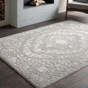 Charlton Home Thissell Vintage Persian Medallion Gray Area Rug; 7'10'' x 10'3''