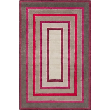 Mercer41 Borset Hand Tufted Wool Gray/Red Area Rug; 5' x 7'6''