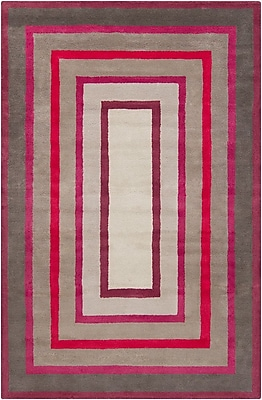 Mercer41 Borset Hand Tufted Wool Gray/Red Area Rug; 5' x 7'6''