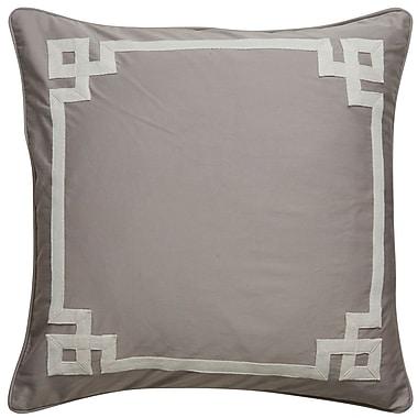 Willa Arlo Interiors Darvell Border Pattern Square Throw Pillow; Grey / Ivory