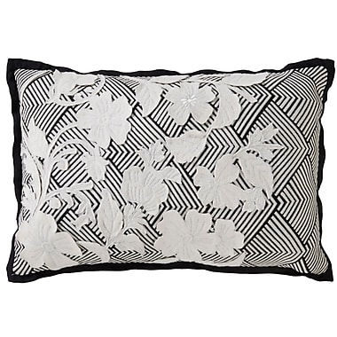 Bungalow Rose Brightwood Stitched Floral Pattern Rectangular Cotton Throw Pillow