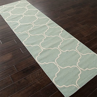 Willa Arlo Interiors Caresse Hand-Woven Green Area Rug; Runner 2'6'' x 8'