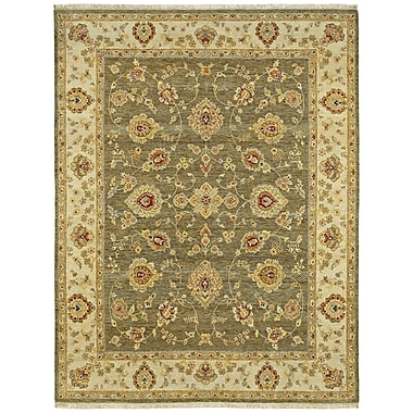 Astoria Grand Clarkston Hand-Knotted Wool Olive Area Rug; 9' x 12'