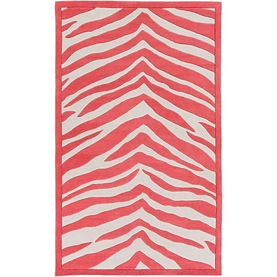 Zoomie Kids Alvin Hand-Tufted Bright Pink/Ivory Area Rug; 2' x 3'